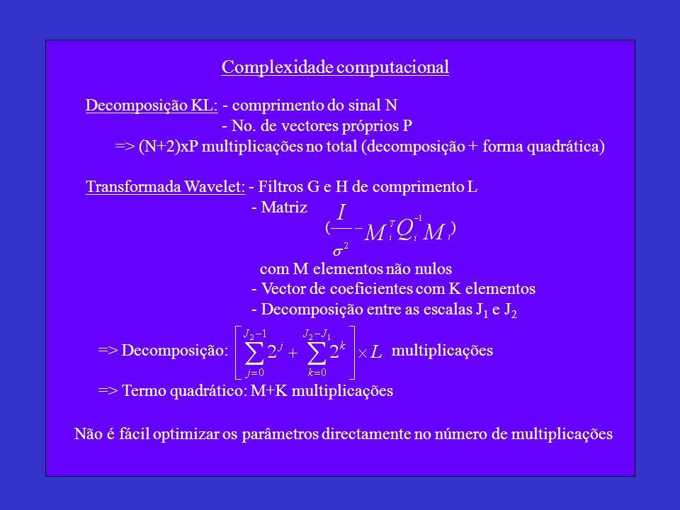 Complexidade computacional Decomposição KL: - comprimento do sinal N - No. de vectores próprios P => (N+2)xP multiplicações no total (decomposição + f