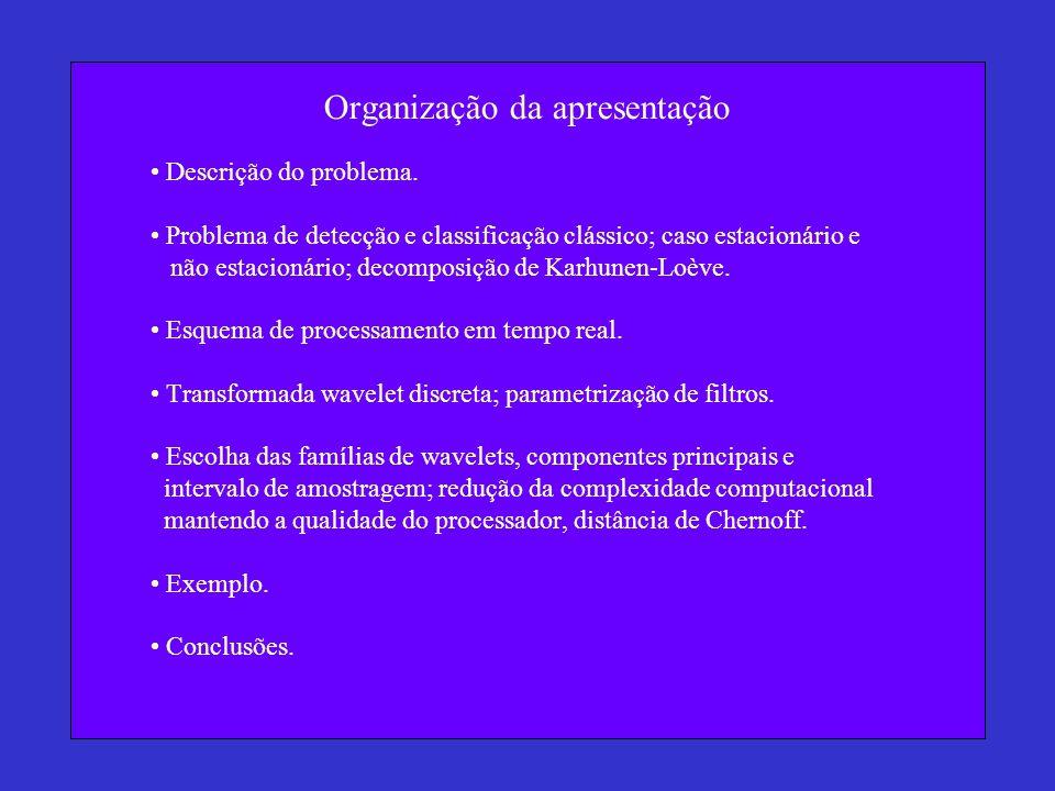 Organização da apresentação Descrição do problema. Problema de detecção e classificação clássico; caso estacionário e não estacionário; decomposição d
