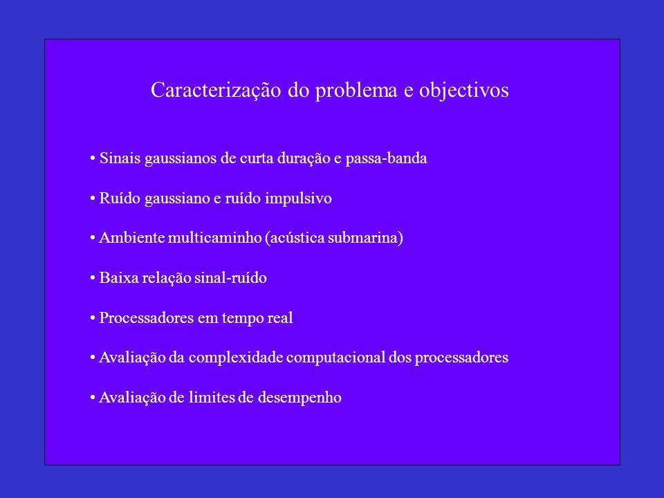 Caracterização do problema e objectivos Sinais gaussianos de curta duração e passa-banda Ruído gaussiano e ruído impulsivo Ambiente multicaminho (acús
