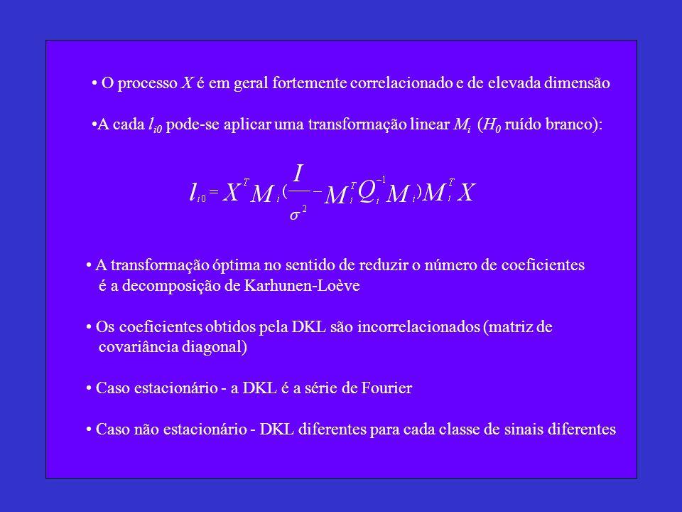 O processo X é em geral fortemente correlacionado e de elevada dimensão A cada l i0 pode-se aplicar uma transformação linear M i (H 0 ruído branco): A