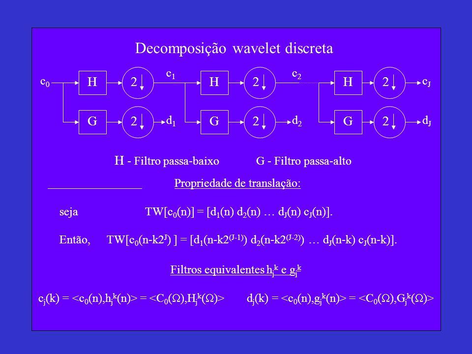 Decomposição wavelet discreta H c0c0 HH GGG c1c1 c2c2 cJcJ d2d2 d1d1 dJdJ H - Filtro passa-baixo G - Filtro passa-alto 2 2 2 2 2 2 Propriedade de translação: seja TW[c 0 (n)] = [d 1 (n) d 2 (n) … d J (n) c J (n)].