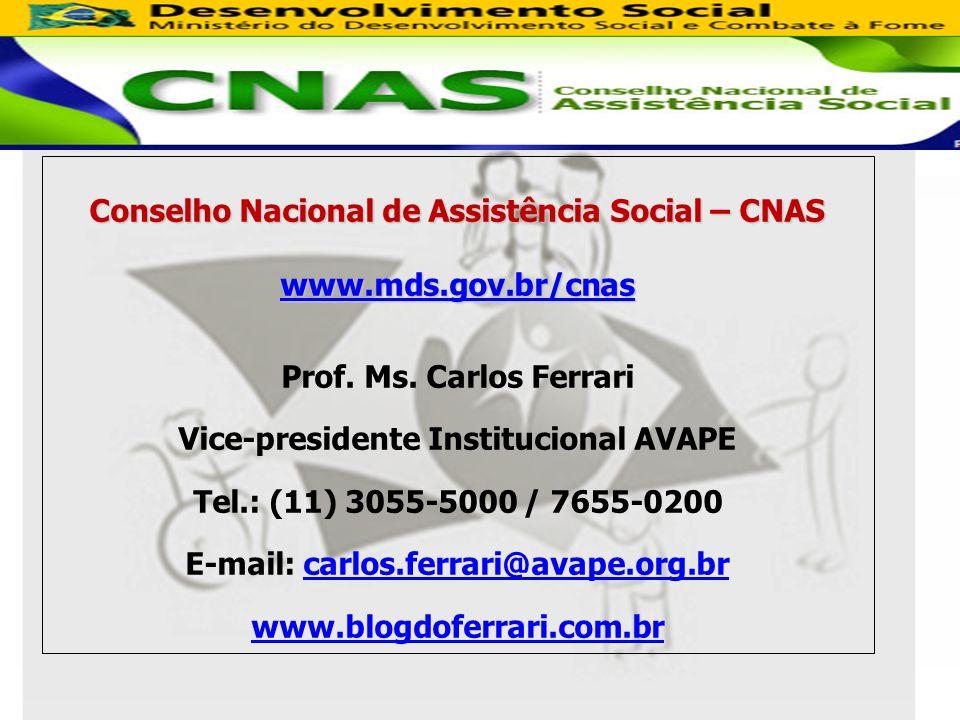 Conselho Nacional de Assistência Social – CNAS www.mds.gov.br/cnas Prof.