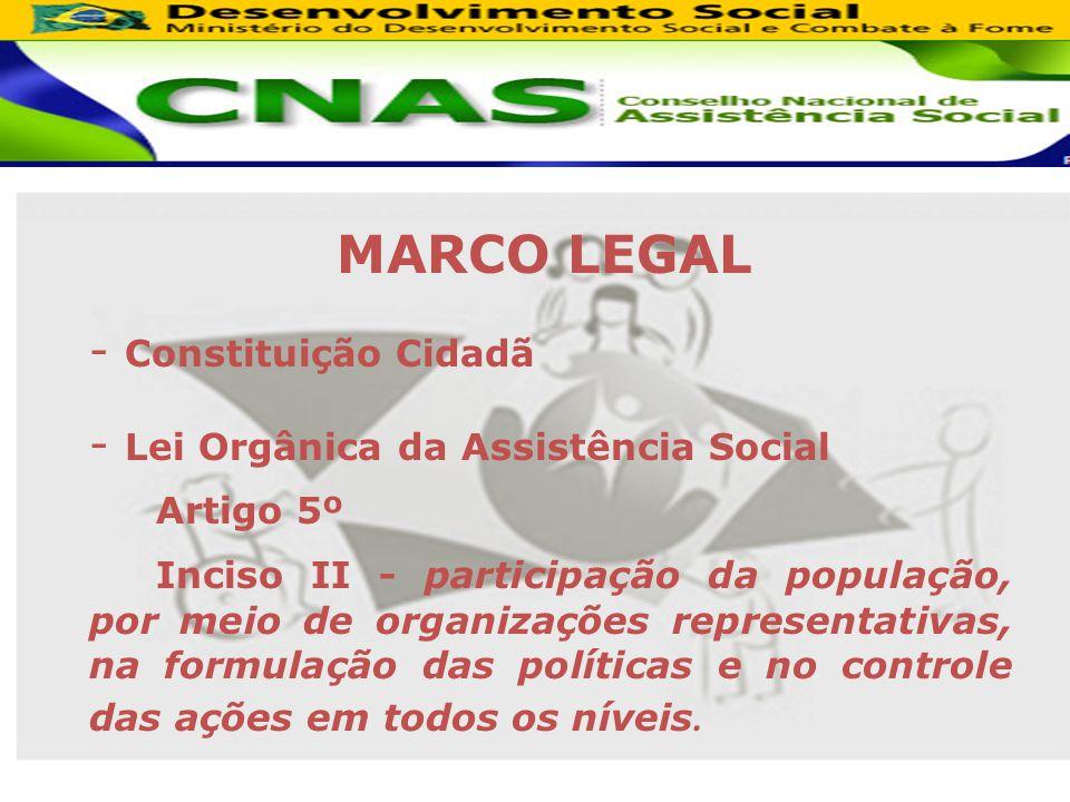 MARCO LEGAL - Constituição Cidadã - Lei Orgânica da Assistência Social Artigo 5º Inciso II - participação da população, por meio de organizações representativas, na formulação das políticas e no controle das ações em todos os níveis.