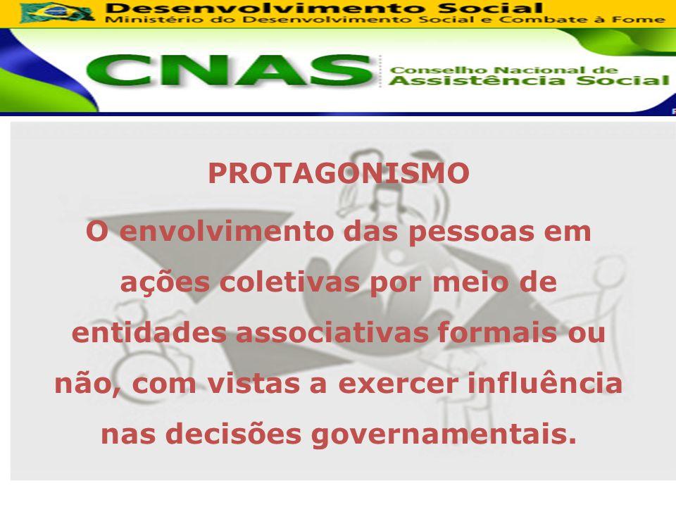 PROTAGONISMO O envolvimento das pessoas em ações coletivas por meio de entidades associativas formais ou não, com vistas a exercer influência nas decisões governamentais.