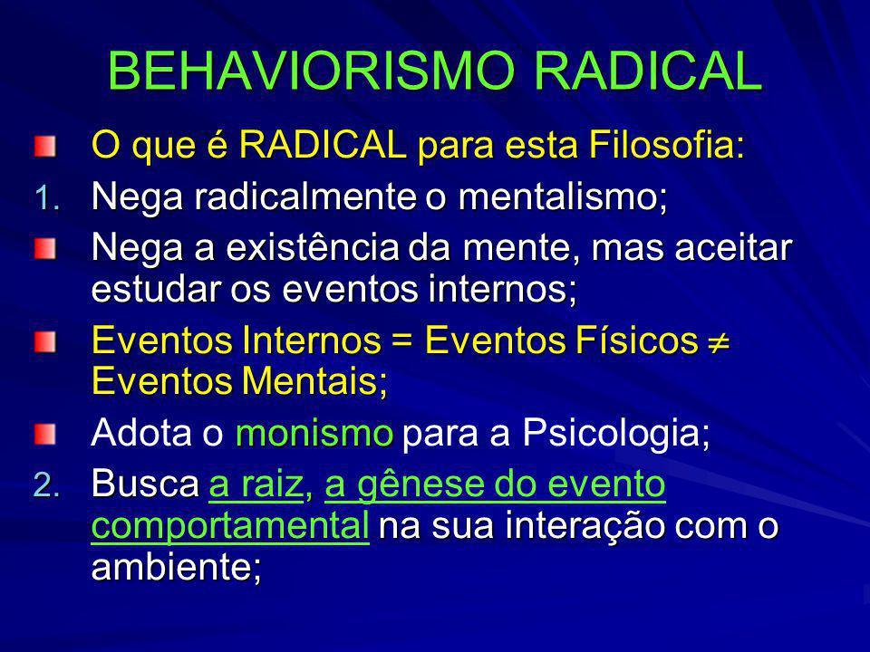 BEHAVIORISMO RADICAL O que é RADICAL para esta Filosofia: 1. Nega radicalmente o mentalismo; Nega a existência da mente, mas aceitar estudar os evento