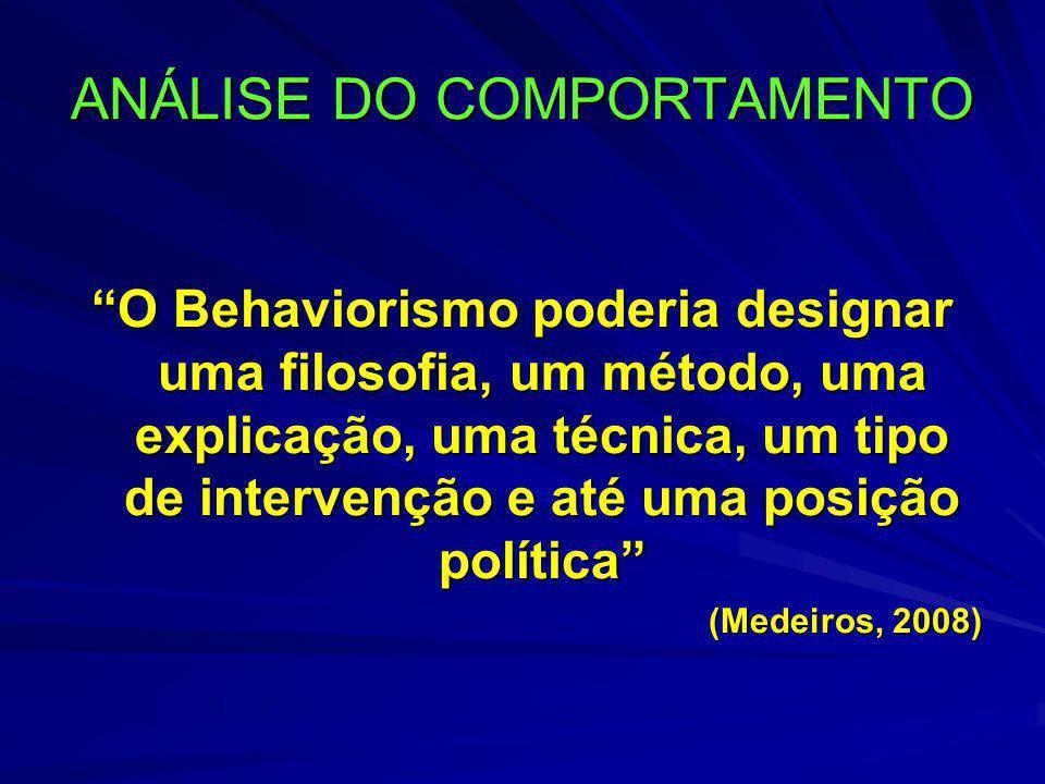 """ANÁLISE DO COMPORTAMENTO """"O Behaviorismo poderia designar uma filosofia, um método, uma explicação, uma técnica, um tipo de intervenção e até uma posi"""