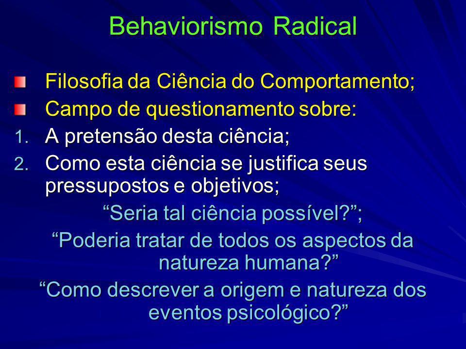 Behaviorismo Radical Filosofia da Ciência do Comportamento; Campo de questionamento sobre: 1. A pretensão desta ciência; 2. Como esta ciência se justi
