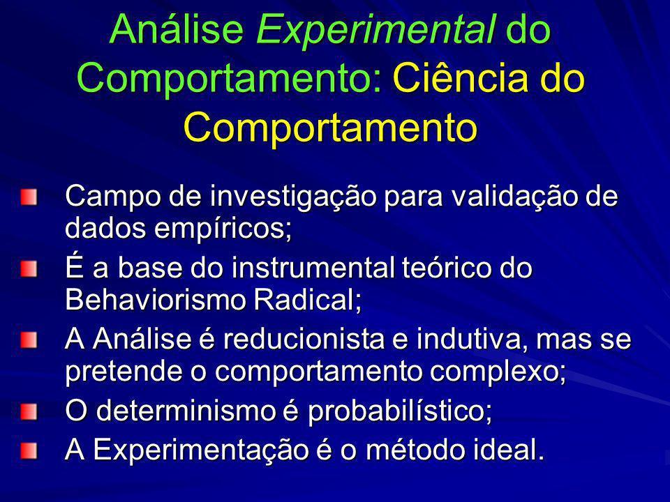 Análise Experimental do Comportamento: Ciência do Comportamento Campo de investigação para validação de dados empíricos; É a base do instrumental teór