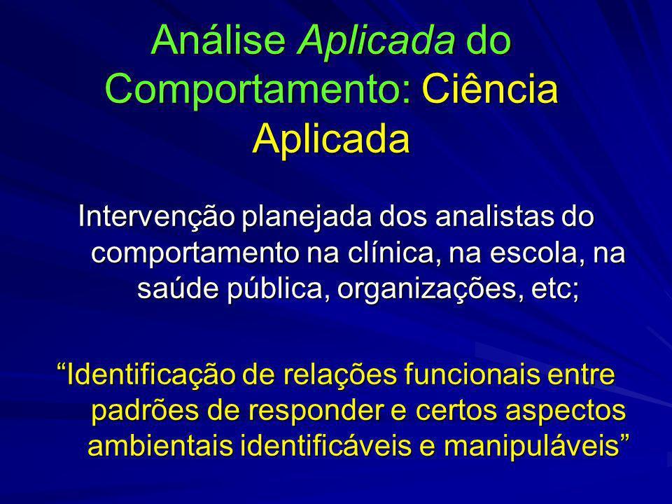 Análise Aplicada do Comportamento: Ciência Aplicada Intervenção planejada dos analistas do comportamento na clínica, na escola, na saúde pública, orga