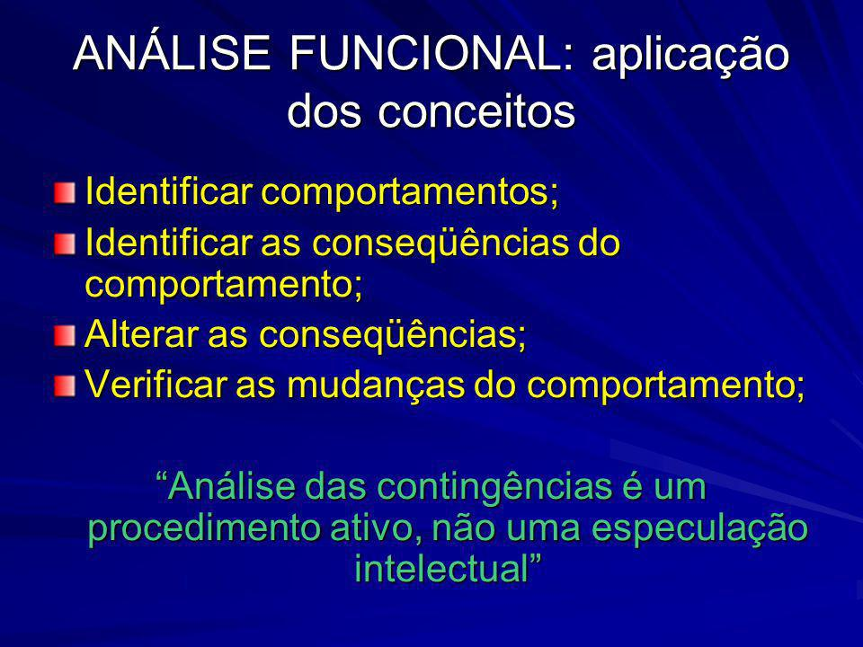 ANÁLISE FUNCIONAL: aplicação dos conceitos Identificar comportamentos; Identificar as conseqüências do comportamento; Alterar as conseqüências; Verifi