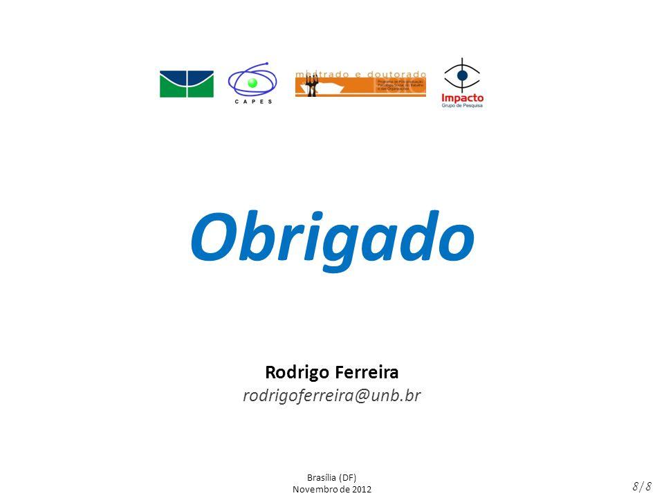 Obrigado Rodrigo Ferreira rodrigoferreira@unb.br Brasília (DF) Novembro de 2012 8/8