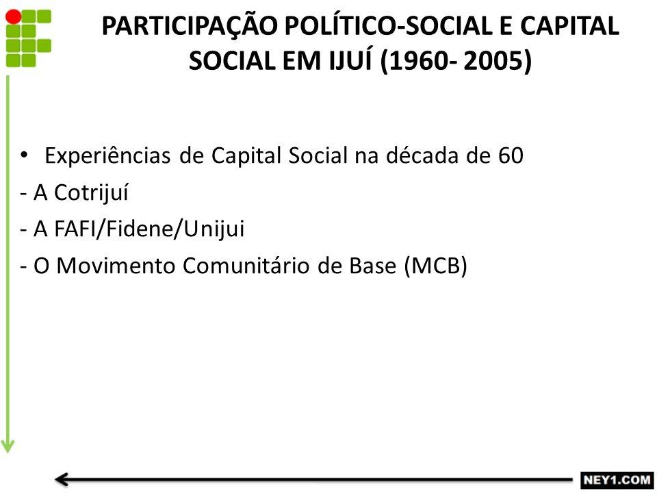 PARTICIPAÇÃO POLÍTICO-SOCIAL E CAPITAL SOCIAL EM IJUÍ (1960- 2005) Experiências de Capital Social na década de 60 - A Cotrijuí - A FAFI/Fidene/Unijui - O Movimento Comunitário de Base (MCB)