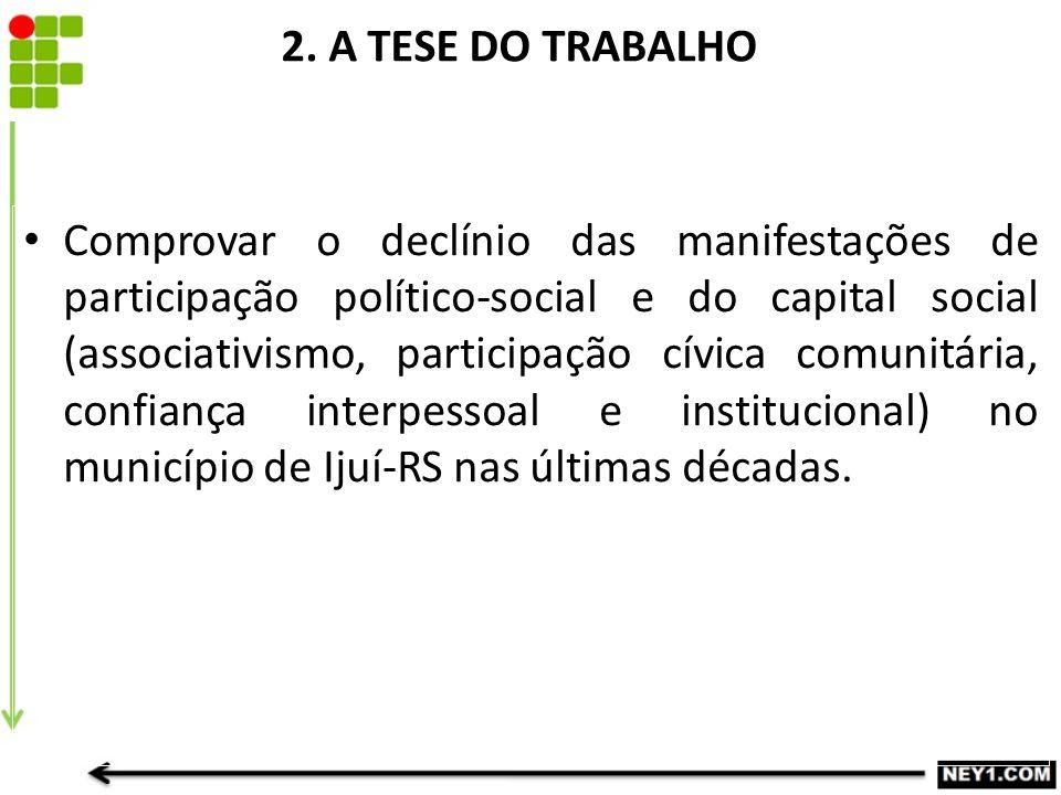 2. A TESE DO TRABALHO Comprovar o declínio das manifestações de participação político-social e do capital social (associativismo, participação cívica