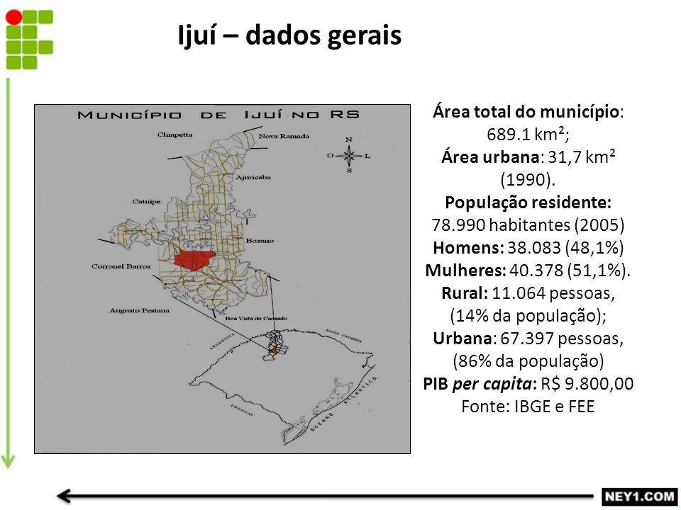 Área total do município: 689.1 km²; Área urbana: 31,7 km² (1990).