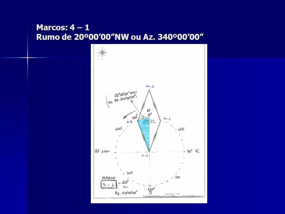 "Marcos: 4 – 1 Rumo de 20º00'00""NW ou Az. 340º00'00"""