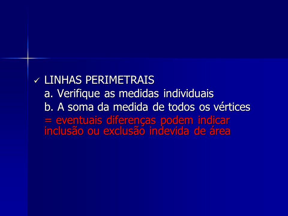 LINHAS PERIMETRAIS LINHAS PERIMETRAIS a. Verifique as medidas individuais a. Verifique as medidas individuais b. A soma da medida de todos os vértices