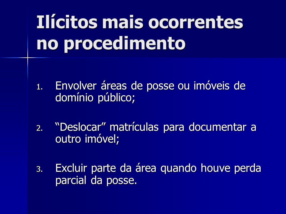 """Ilícitos mais ocorrentes no procedimento 1. Envolver áreas de posse ou imóveis de domínio público; 2. """"Deslocar"""" matrículas para documentar a outro im"""