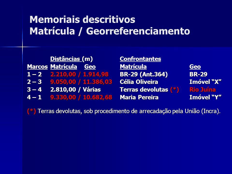 Memoriais descritivos Matrícula / Georreferenciamento (m) Distâncias (m) Confrontantes Marcos Matrícula Geo Matrícula Geo 1 – 22.210,00 / 1.914,98BR-2