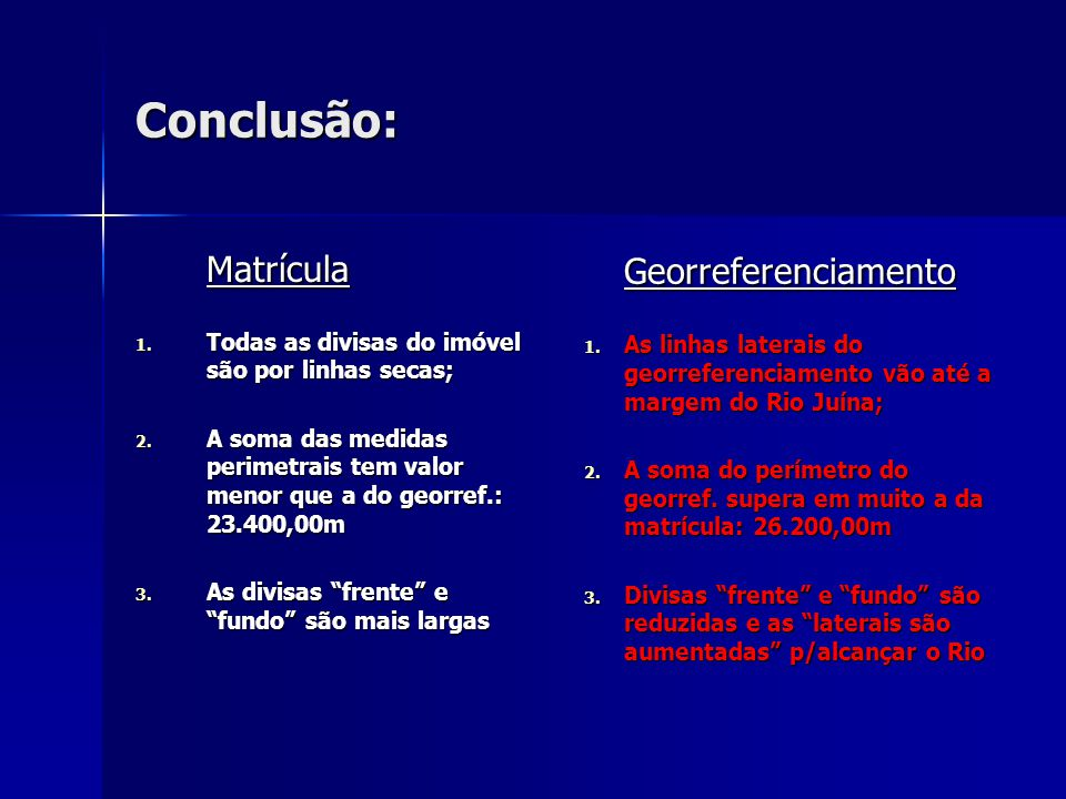 Conclusão: Matrícula Matrícula 1. Todas as divisas do imóvel são por linhas secas; 2. A soma das medidas perimetrais tem valor menor que a do georref.