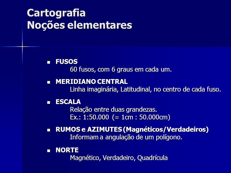 Cartografia Noções elementares FUSOS FUSOS 60 fusos, com 6 graus em cada um. 60 fusos, com 6 graus em cada um. MERIDIANO CENTRAL MERIDIANO CENTRAL Lin