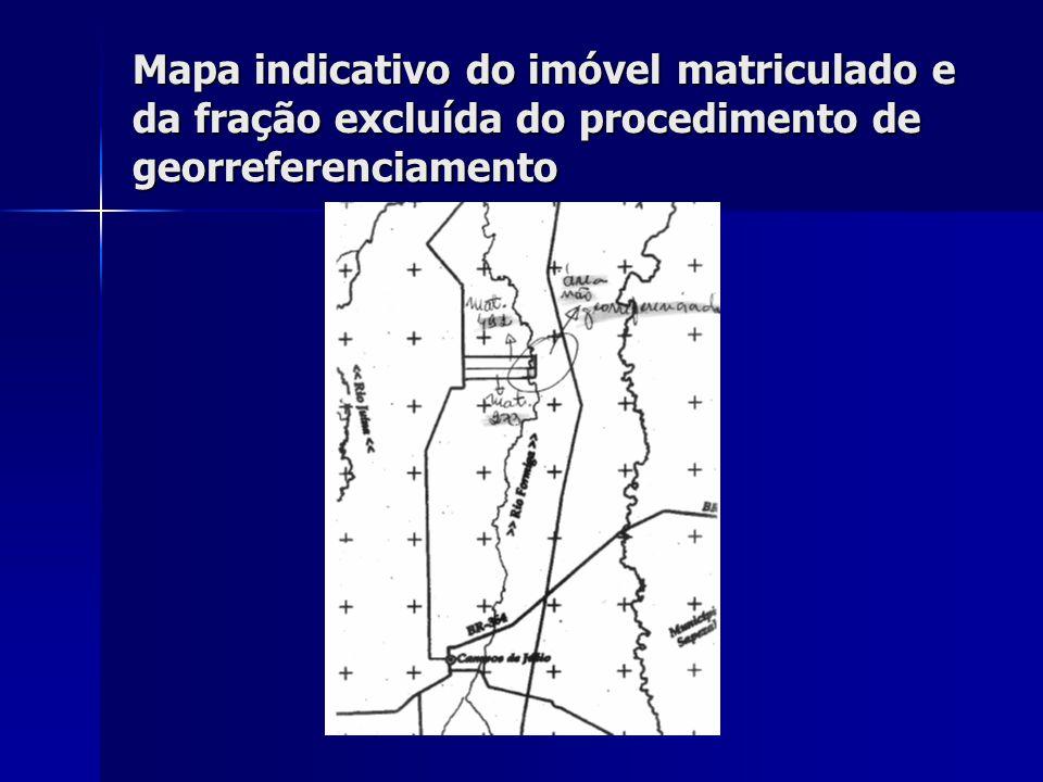 Mapa indicativo do imóvel matriculado e da fração excluída do procedimento de georreferenciamento