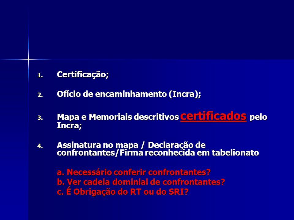 1. Certificação; 2. Ofício de encaminhamento (Incra); 3. Mapa e Memoriais descritivos certificados pelo Incra; 4. Assinatura no mapa / Declaração de c