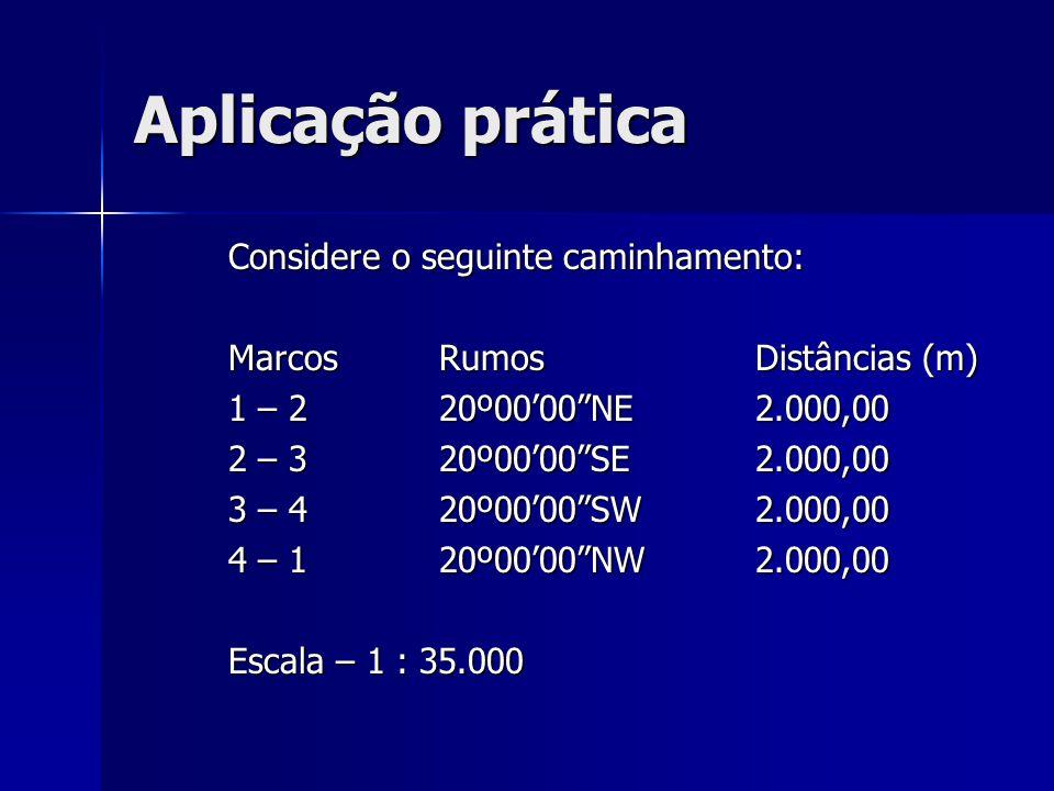 """Aplicação prática Considere o seguinte caminhamento: Marcos Rumos Distâncias (m) 1 – 220º00'00""""NE2.000,00 2 – 320º00'00""""SE2.000,00 3 – 420º00'00""""SW2.0"""