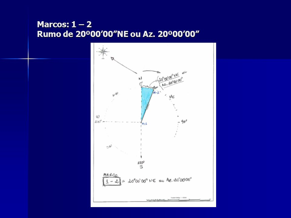 "Marcos: 1 – 2 Rumo de 20º00'00""NE ou Az. 20º00'00"""