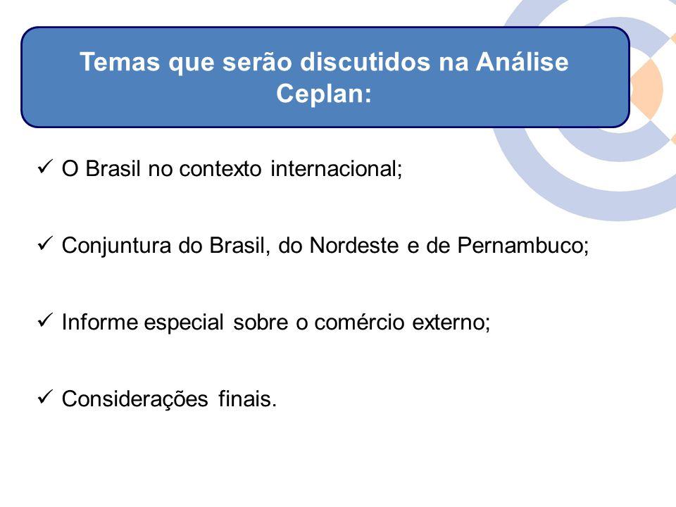 Clique para editar o estilo do título mestre O Brasil no contexto internacional; Conjuntura do Brasil, do Nordeste e de Pernambuco; Informe especial sobre o comércio externo; Considerações finais.
