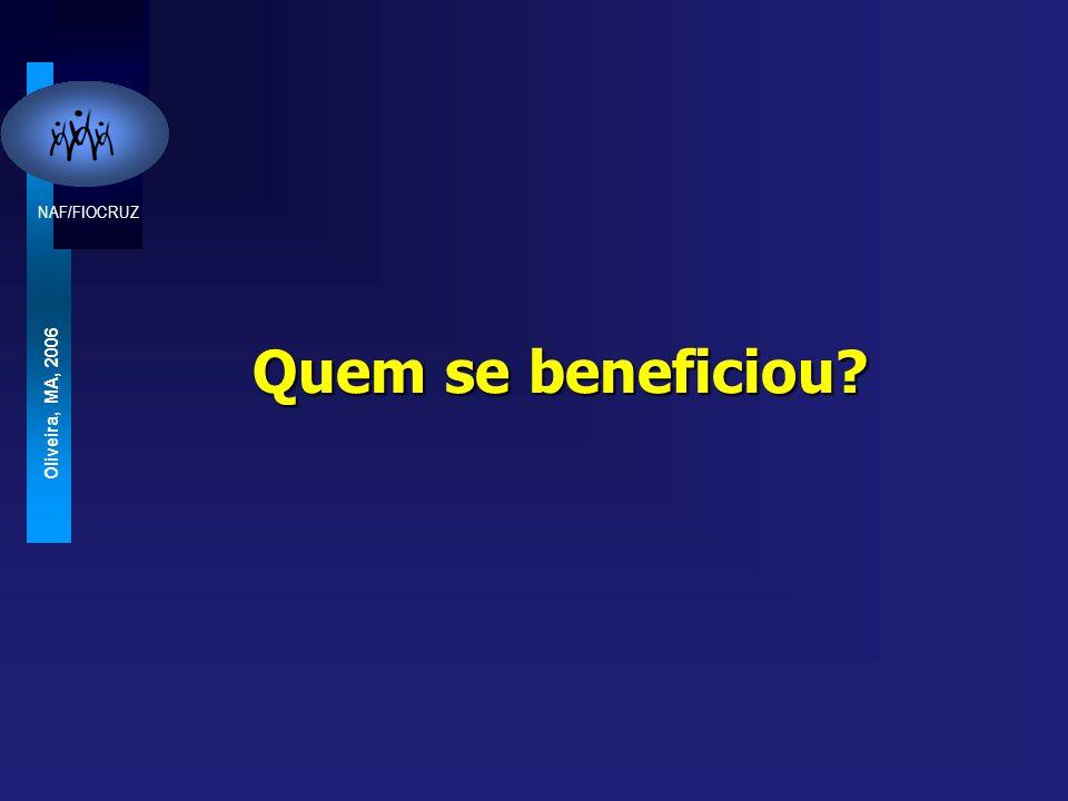 NAF/FIOCRUZ Oliveira, MA, 2006 Quem se beneficiou?