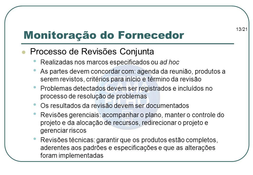 13/21 Monitoração do Fornecedor Processo de Revisões Conjunta Realizadas nos marcos especificados ou ad hoc As partes devem concordar com: agenda da r