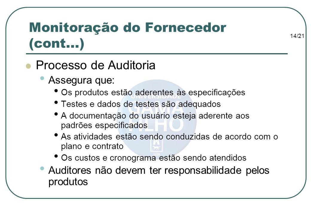 14/21 Monitoração do Fornecedor (cont...) Processo de Auditoria Assegura que: Os produtos estão aderentes às especificações Testes e dados de testes s