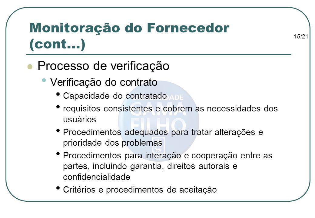 15/21 Monitoração do Fornecedor (cont...) Processo de verificação Verificação do contrato Capacidade do contratado requisitos consistentes e cobrem as