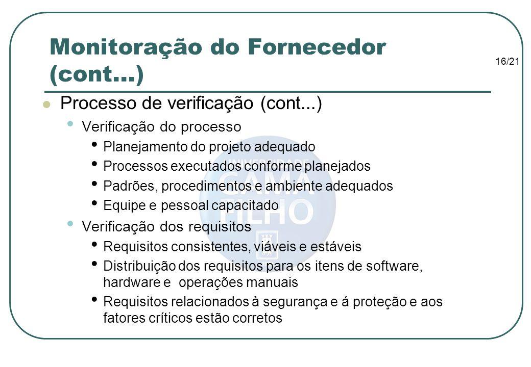 16/21 Monitoração do Fornecedor (cont...) Processo de verificação (cont...) Verificação do processo Planejamento do projeto adequado Processos executa