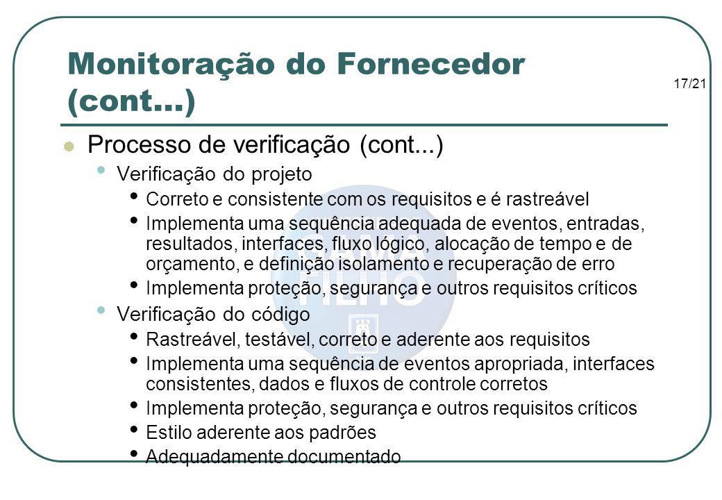 17/21 Monitoração do Fornecedor (cont...) Processo de verificação (cont...) Verificação do projeto Correto e consistente com os requisitos e é rastreá