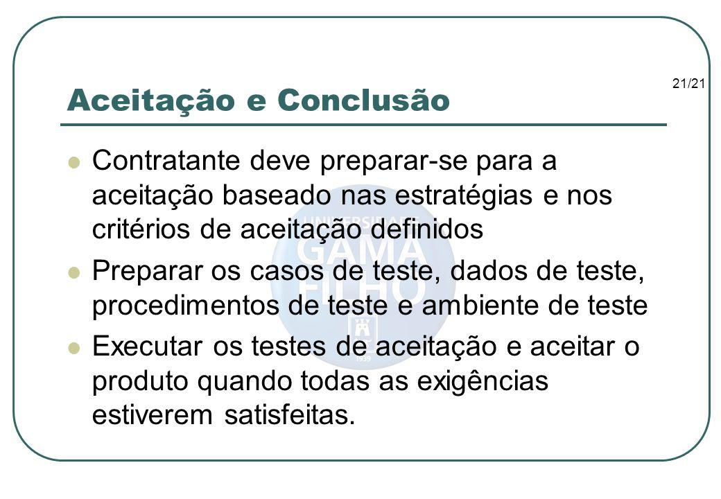 21/21 Aceitação e Conclusão Contratante deve preparar-se para a aceitação baseado nas estratégias e nos critérios de aceitação definidos Preparar os c