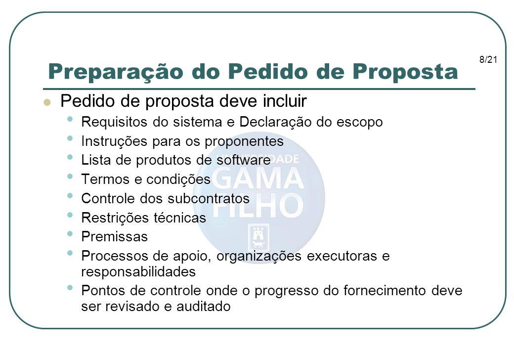 8/21 Preparação do Pedido de Proposta Pedido de proposta deve incluir Requisitos do sistema e Declaração do escopo Instruções para os proponentes List