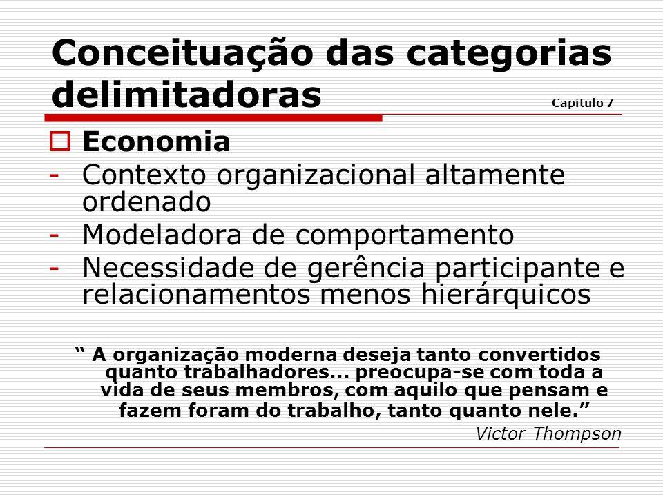  Economia -Contexto organizacional altamente ordenado -Modeladora de comportamento -Necessidade de gerência participante e relacionamentos menos hier