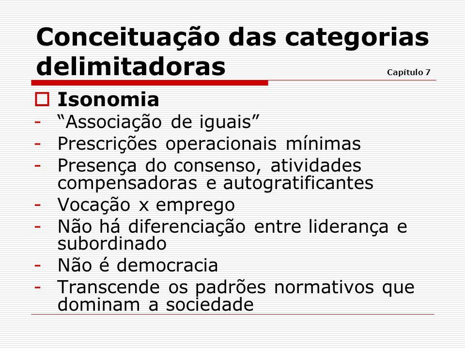 """ Isonomia -""""Associação de iguais"""" -Prescrições operacionais mínimas -Presença do consenso, atividades compensadoras e autogratificantes -Vocação x em"""