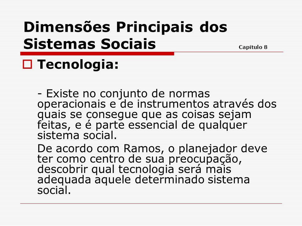  Tecnologia: - Existe no conjunto de normas operacionais e de instrumentos através dos quais se consegue que as coisas sejam feitas, e é parte essenc
