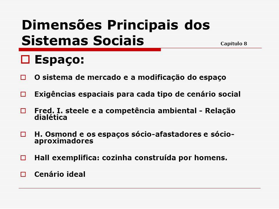 Dimensões Principais dos Sistemas Sociais Capítulo 8  Espaço:  O sistema de mercado e a modificação do espaço  Exigências espaciais para cada tipo