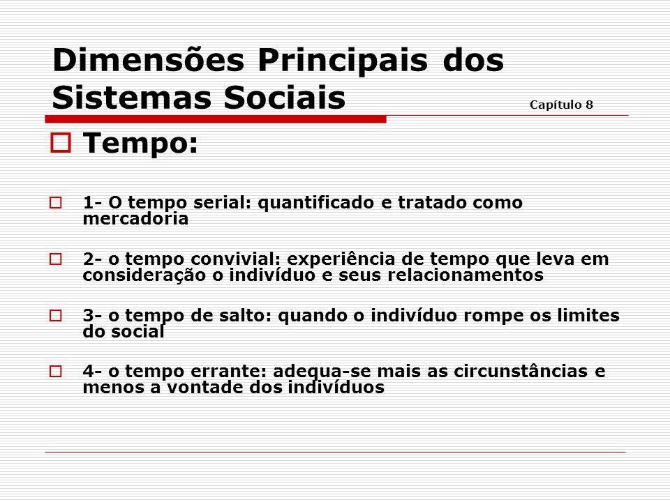 Dimensões Principais dos Sistemas Sociais Capítulo 8  Tempo:  1- O tempo serial: quantificado e tratado como mercadoria  2- o tempo convivial: expe