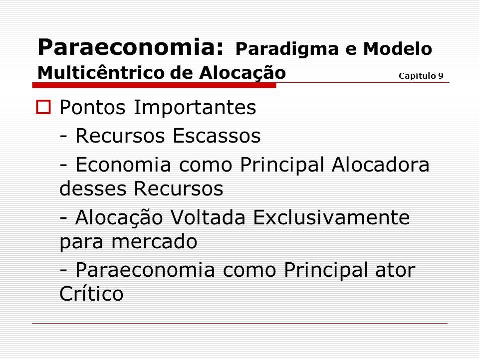  Pontos Importantes - Recursos Escassos - Economia como Principal Alocadora desses Recursos - Alocação Voltada Exclusivamente para mercado - Paraecon