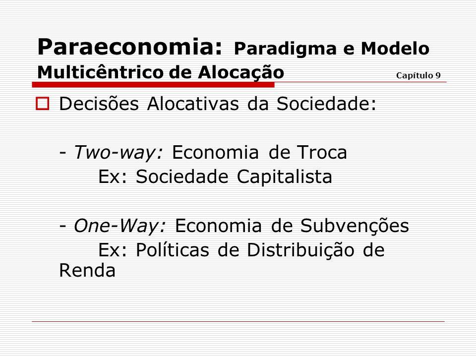  Decisões Alocativas da Sociedade: - Two-way: Economia de Troca Ex: Sociedade Capitalista - One-Way: Economia de Subvenções Ex: Políticas de Distribu