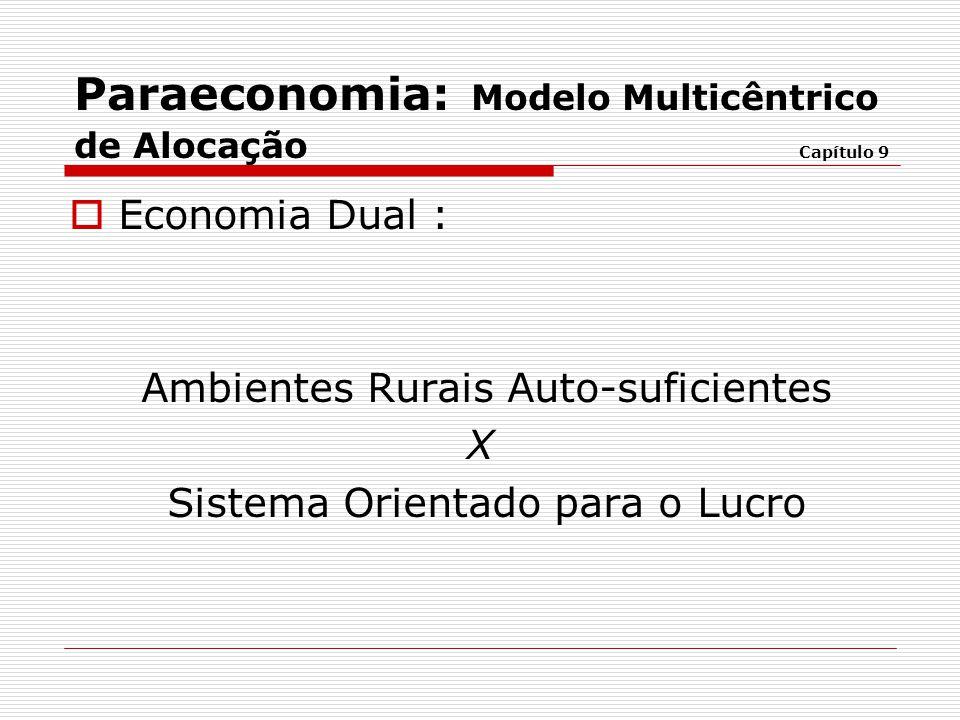  Economia Dual : Ambientes Rurais Auto-suficientes X Sistema Orientado para o Lucro Paraeconomia: Modelo Multicêntrico de Alocação Capítulo 9