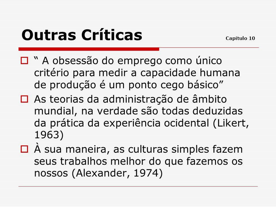 """ """" A obsessão do emprego como único critério para medir a capacidade humana de produção é um ponto cego básico""""  As teorias da administração de âmbi"""