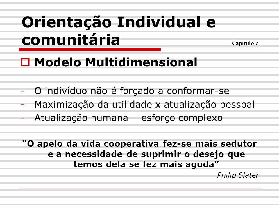  Modelo Multidimensional -O indivíduo não é forçado a conformar-se -Maximização da utilidade x atualização pessoal -Atualização humana – esforço comp