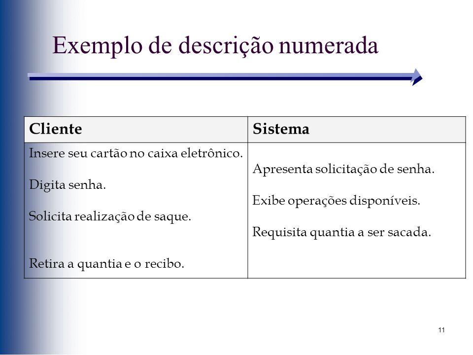11 Exemplo de descrição numerada ClienteSistema Insere seu cartão no caixa eletrônico. Digita senha. Solicita realização de saque. Retira a quantia e