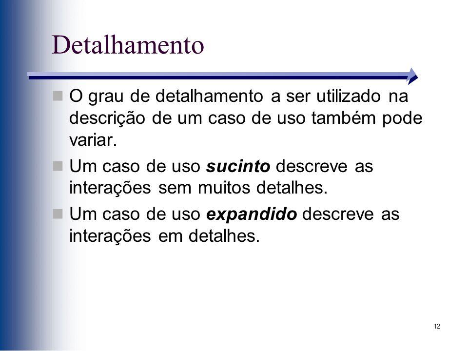 12 Detalhamento O grau de detalhamento a ser utilizado na descrição de um caso de uso também pode variar. Um caso de uso sucinto descreve as interaçõe