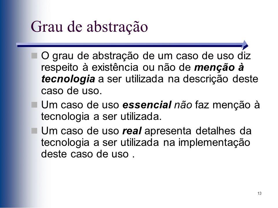 13 Grau de abstração O grau de abstração de um caso de uso diz respeito à existência ou não de menção à tecnologia a ser utilizada na descrição deste caso de uso.